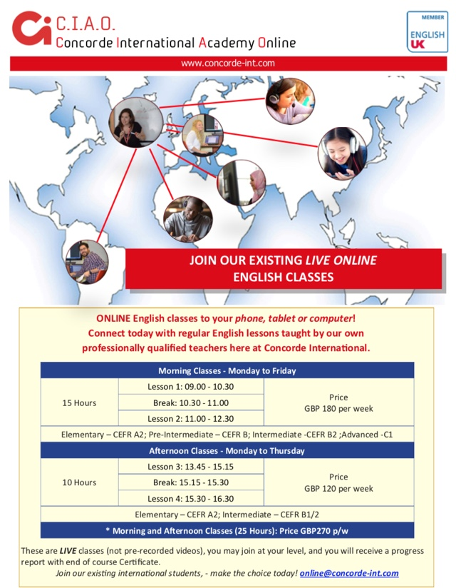 Online English language courses for adults